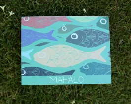 mahalo greeting card hawaii fish artwork
