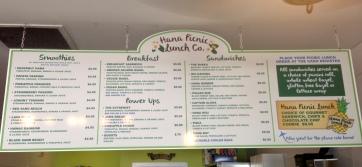 hana picnic lunch menu board