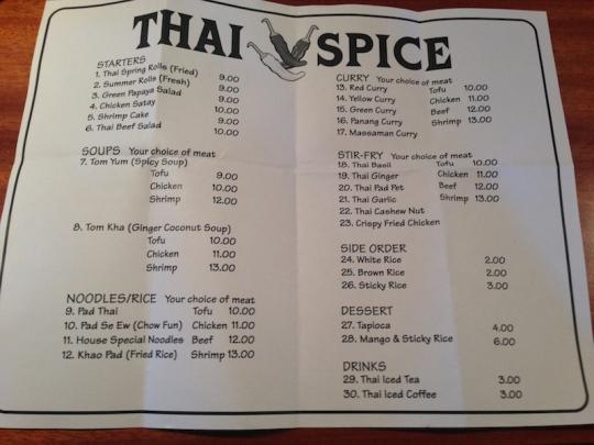 thai spice thai restaurant maui paia menu hours