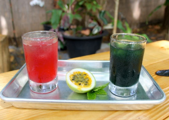 Pineapple Hibiscus Water and Pineapple Chlorophyll Water at Sports Club Pacific Maui Hawaii Paia