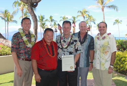 L-R John Bendon Founding Principal at GBH, Mayor Alan Arakawa, Gary Bulson, Senior Engineer at Hyatt Regency Maui, Allen Farwell, General Manager Hyatt Regency Maui, and Rick Werber, Senior Vice President, Engineering and Sustainability at Host Hotels & Resorts