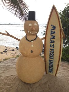 mamas fish house snowman photo prop