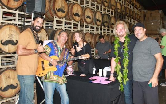 Kainoa Horcajo, Benny Uyetake, Maui CookieLady, Mark Nigbur (Master Distiller) and Tommy Russo