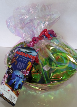 A gift basket of treasures from the Maui Ocean Treasures store at the aquarium! Food items plus an adorable turtle plush!