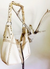 smoke colored deer skin leather bag