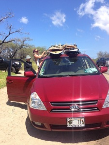 red mini van for surfing